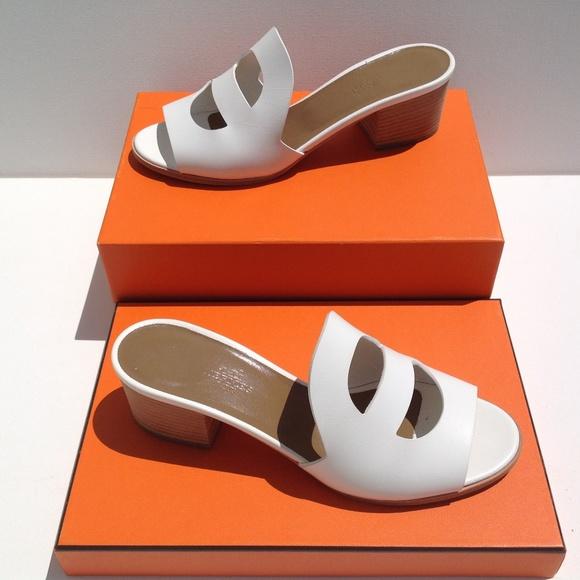 ed679234b749 Hermes Shoes - HERMES White Leather Mona Slide Sandals size 38